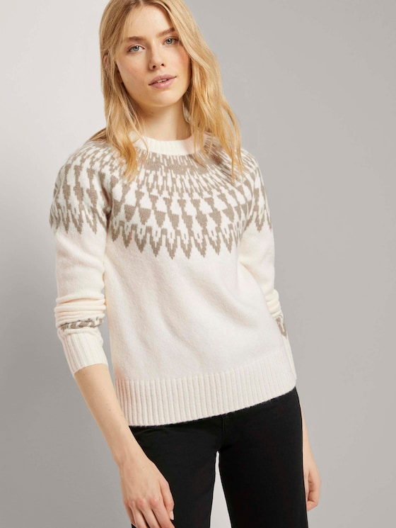 Pullover mit Shetland-Muster - Frauen - soft powder beige - 5 - TOM TAILOR
