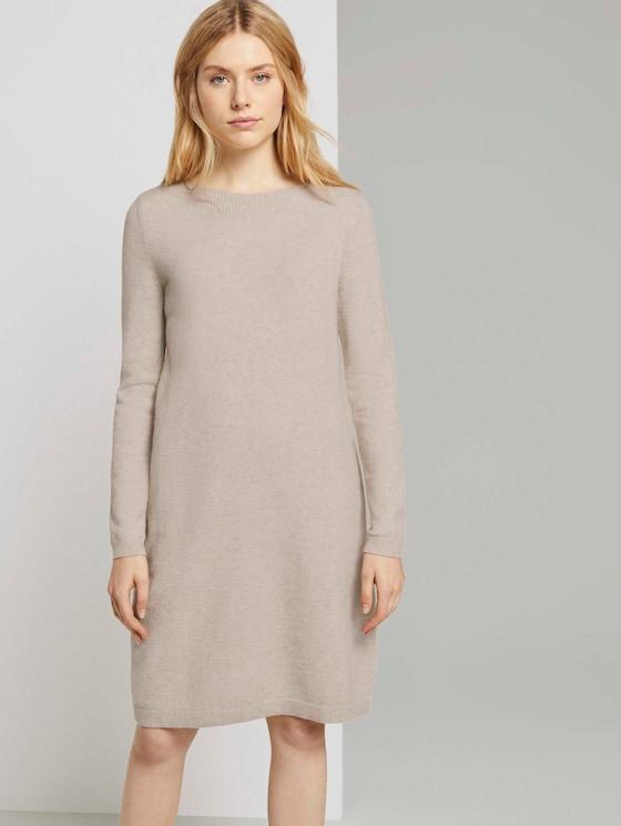 Knitted dress with a submarine neckline - Women - desert sand melange - 5 - TOM TAILOR