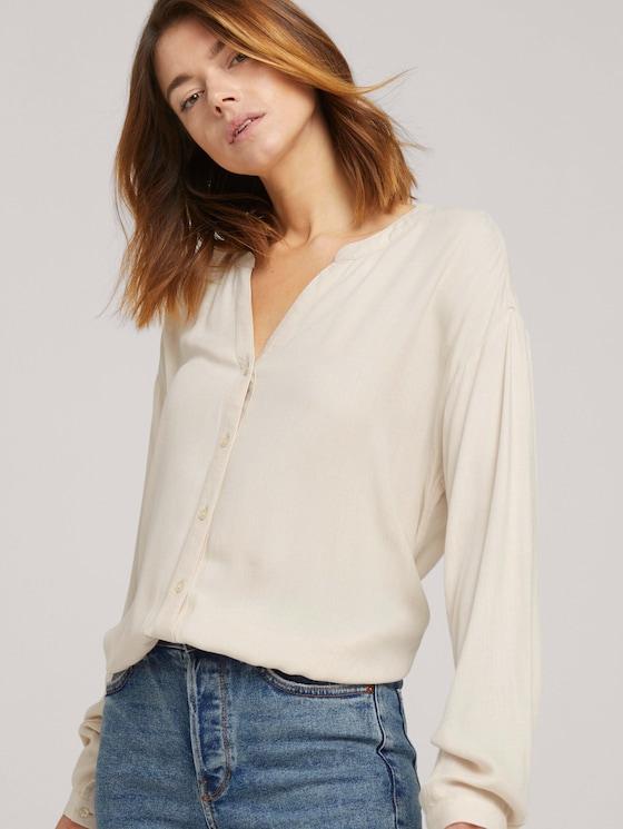 Bluse mit Tunnelzug - Frauen - cozy beige melange - 5 - TOM TAILOR Denim
