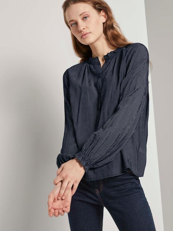 Gestreepte blouse met ruches kraag - Vrouwen - navy white stripe structure - 5 - TOM TAILOR Denim