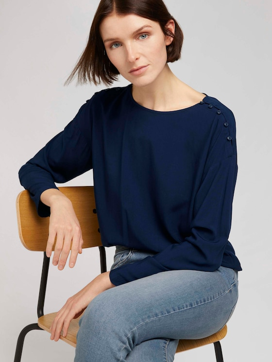 Lockere Bluse mit Knopfleisten - Frauen - Real Navy Blue - 5 - TOM TAILOR Denim