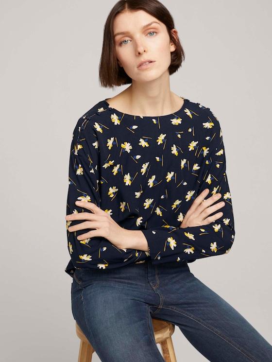 Lockere Bluse mit Knopfleisten - Frauen - navy flower alloverprint - 5 - TOM TAILOR Denim