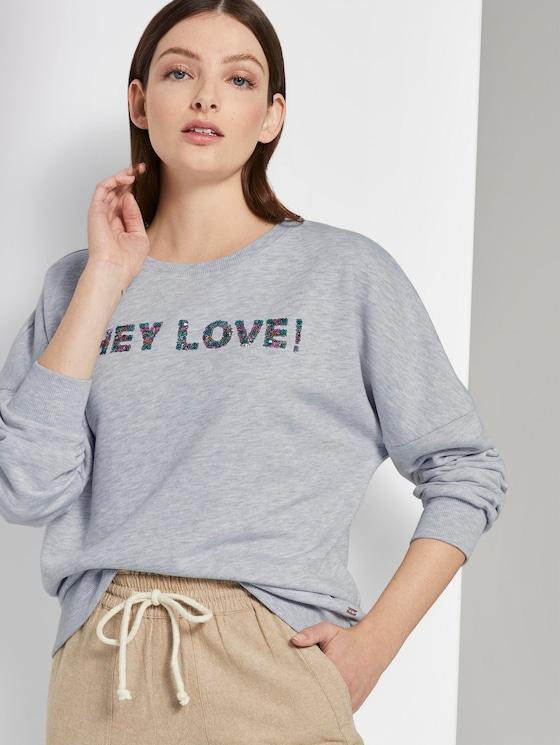 Sweatshirt mit Pailletten-Schriftzug - Frauen - Light Silver Grey Mélange - 5 - TOM TAILOR Denim