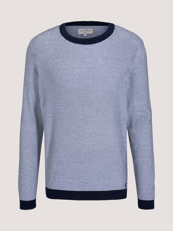 Strukturierter Pullover - Männer - navy white arc design - 7 - TOM TAILOR Denim