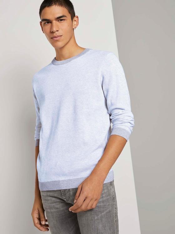 Strukturierter Pullover - Männer - grey white arc design - 5 - TOM TAILOR Denim
