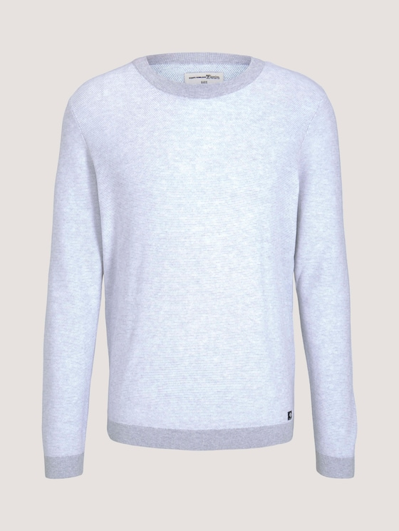 Strukturierter Pullover - Männer - grey white arc design - 7 - TOM TAILOR Denim