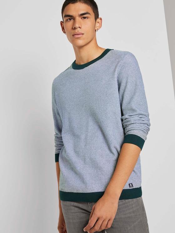 Strukturierter Pullover - Männer - green white arc design - 5 - TOM TAILOR Denim