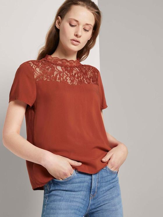 T-Shirt mit Spitze - Frauen - Rust Orange - 5 - TOM TAILOR Denim