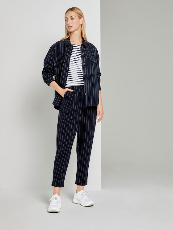 Tapered-Hose mit Nadelstreifen - Frauen - navy pinstripe - 3 - TOM TAILOR Denim
