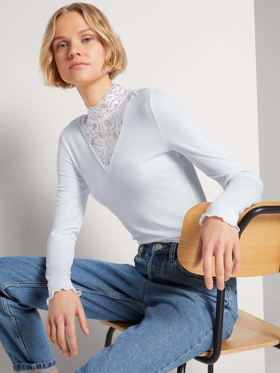 Langarmshirt mit Spitze - Frauen - Off White - 5 - TOM TAILOR Denim