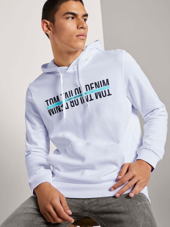 Hoodie met print - Mannen - White - 5 - TOM TAILOR Denim