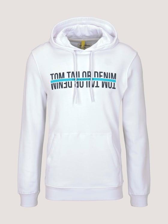 Hoodie mit Print - Männer - White - 7 - TOM TAILOR Denim