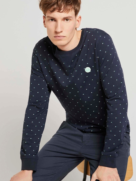 Gemustertes Sweatshirt - Männer - navy triangle stripe print - 5 - TOM TAILOR Denim