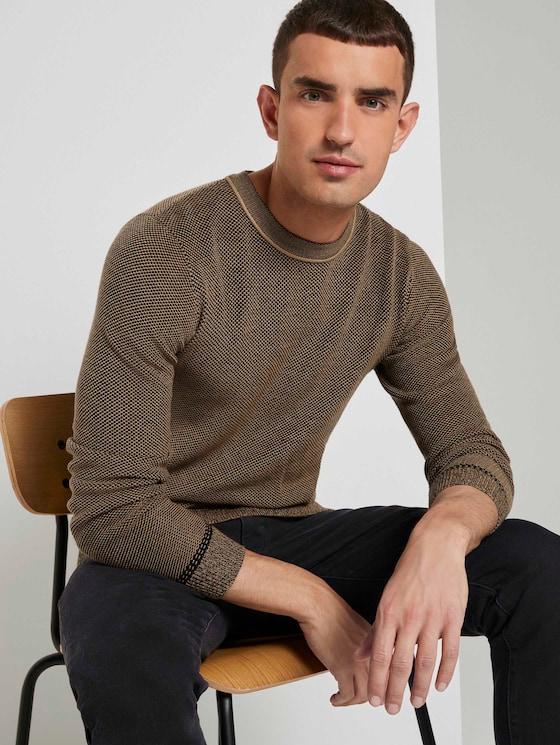 Sweater met fijn patroon - Mannen - black beige birdseye jacquard - 5 - TOM TAILOR