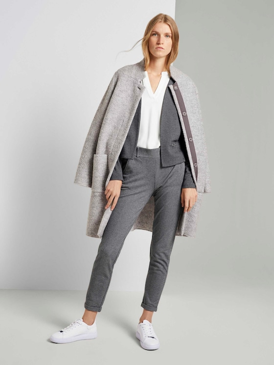 Loose fit broek met dessin - Vrouwen - dark grey herringbone - 3 - TOM TAILOR