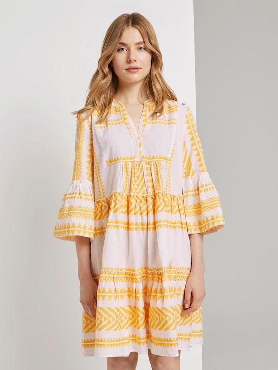 Luftiges Boho-Kleid mit Volants (gelb) - von TOM TAILOR