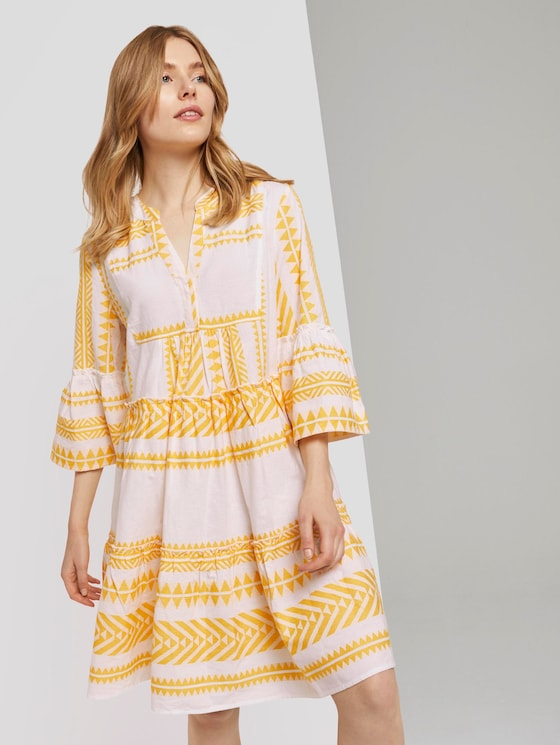 Luftiges Boho-Kleid mit Volants - Frauen - white yellow large ikat design - 5 - TOM TAILOR