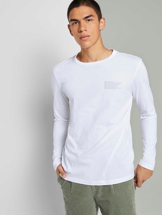 Langarmshirt mit Prints - Männer - White - 5 - TOM TAILOR Denim