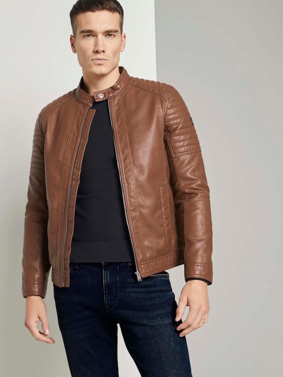Vals leder bikerjack met opstaande kraag - Mannen - mid brown fake leather - 5 - TOM TAILOR