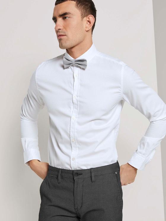 Fein gemustertes Hemd mit Schleife - Männer - White - 5 - TOM TAILOR