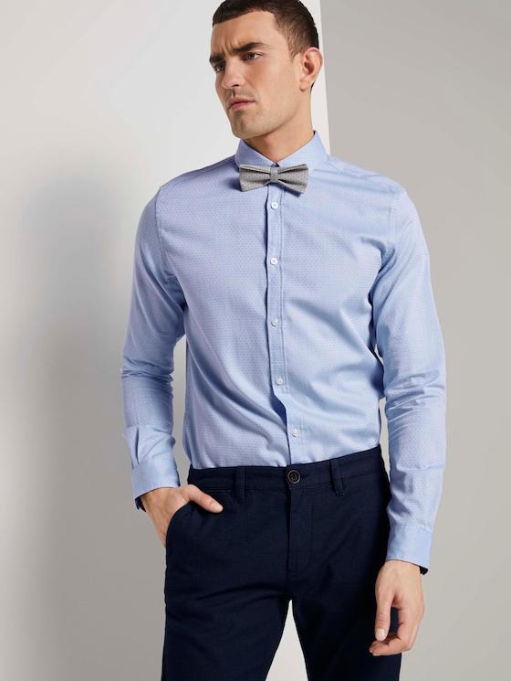 Fein gemustertes Hemd mit Schleife - Männer - light blue white structure - 5 - TOM TAILOR