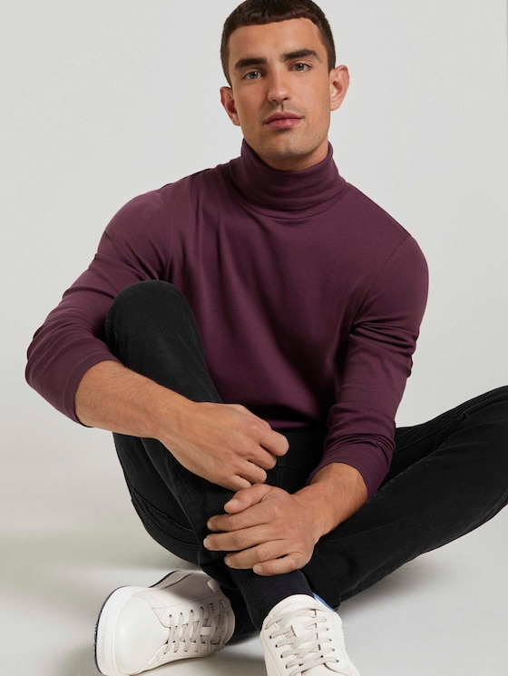Basic Coltrui shirt met lange mouwen - Mannen - Dusty Wildberry Red - 5 - TOM TAILOR