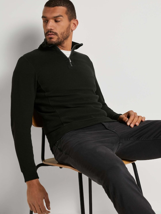 Ottoman Troyer Sweatshirt - Männer - Black - 5 - TOM TAILOR