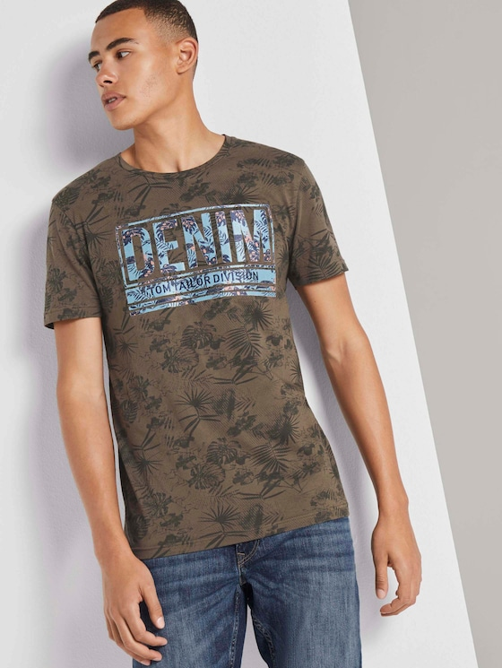 T-Shirt mit Palmenprint - Männer - olive tonal palm design - 5 - TOM TAILOR Denim