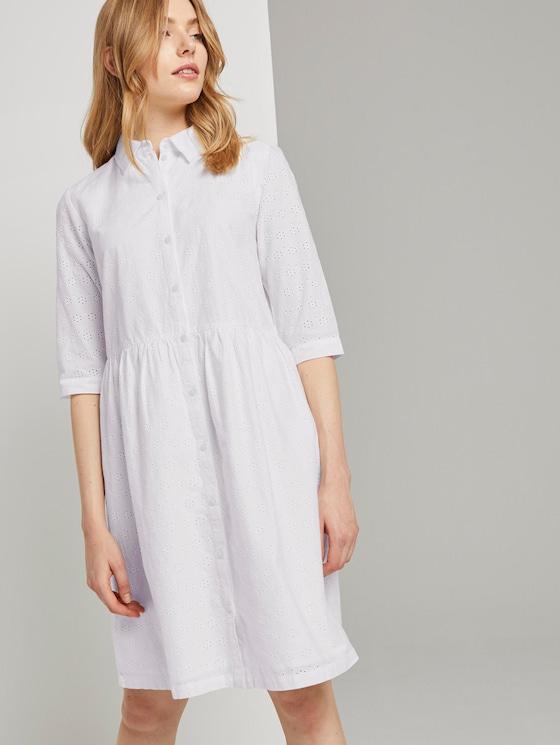 Blusenkleid mit Lochstickerei - Frauen - White - 5 - TOM TAILOR