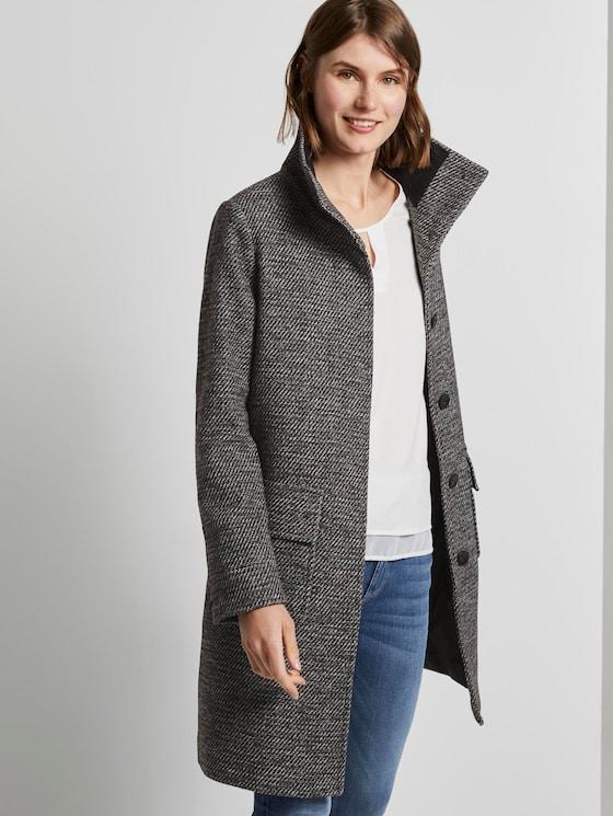 Mantel aus Tweed mit Stehkragen - Frauen - black white structure twill - 5 - TOM TAILOR