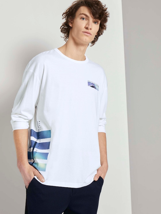 Langarmshirt mit Fotoprints - Männer - White - 5 - TOM TAILOR Denim