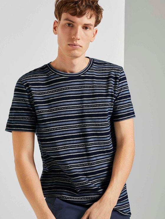 T-Shirt mit Streifenmuster - Männer - navy stripe mix jacquard - 5 - TOM TAILOR Denim
