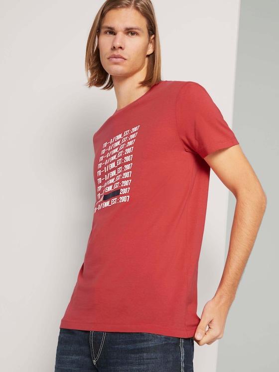 Print T-Shirt mit Bio-Baumwolle - Männer - Normal Red - 5 - TOM TAILOR Denim