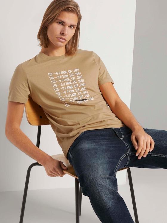 Print T-Shirt mit Bio-Baumwolle - Männer - lark beige - 5 - TOM TAILOR Denim
