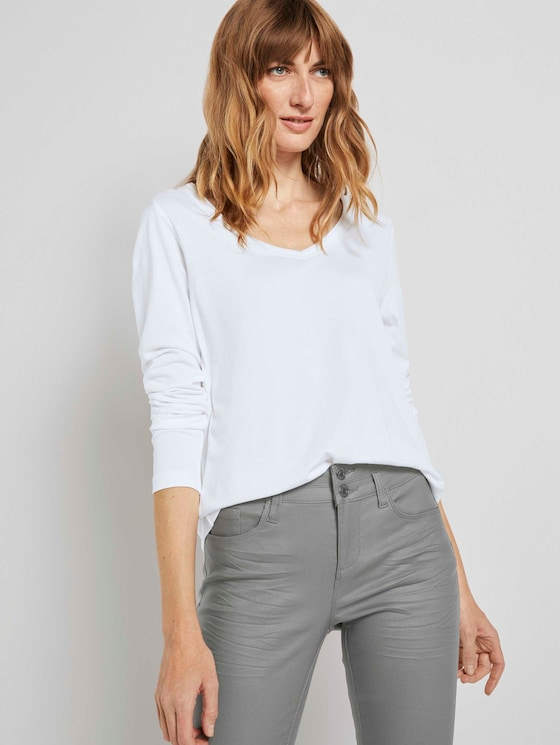 Shirt met lange mouwen en V-hals - Vrouwen - Whisper White - 5 - TOM TAILOR