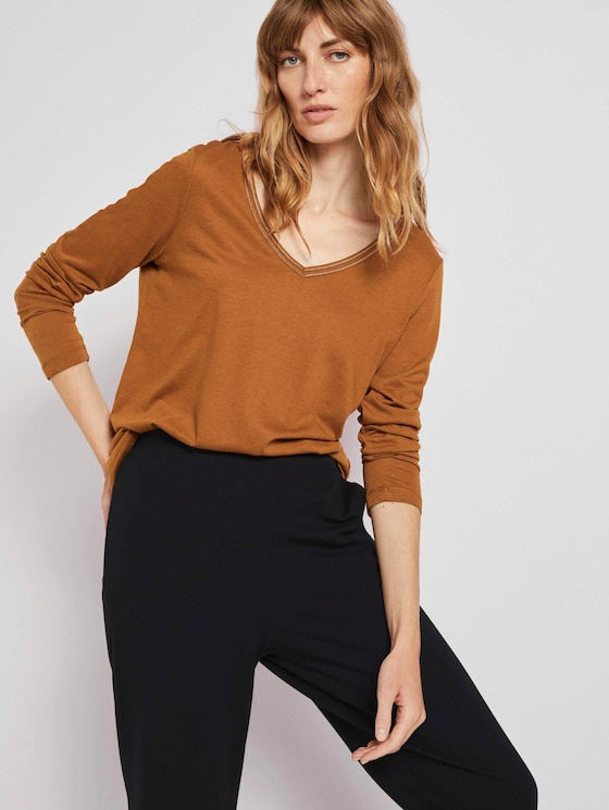 Langarmshirt mit V-Ausschnitt - Frauen - tawny brown - 5 - TOM TAILOR