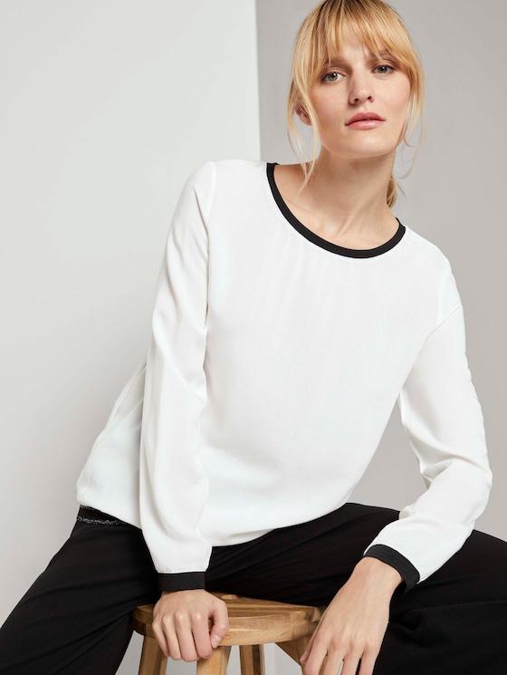 Shirt mit Rippbündchen im Materialmix - Frauen - Whisper White - 5 - TOM TAILOR