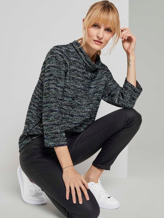 Boucle Sweatshirt mit U-Boot Ausschnitt - Frauen - mint black white boucle design - 5 - TOM TAILOR