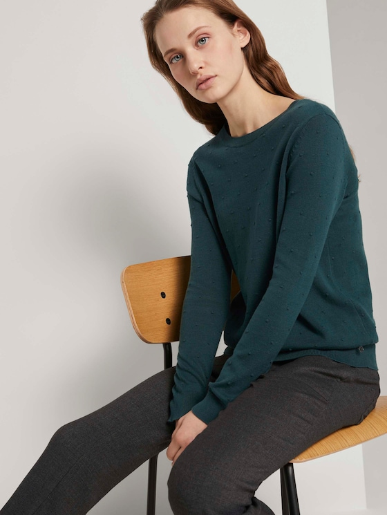Gepunkteter Strickpullover - Frauen - Deep Green Lake - 5 - TOM TAILOR Denim
