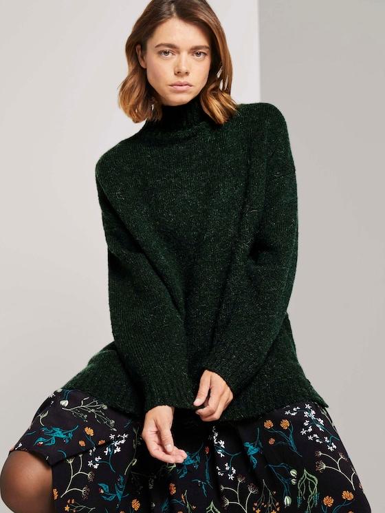 Langer Stehkragen Pullover - Frauen - deep green melange - 5 - TOM TAILOR Denim