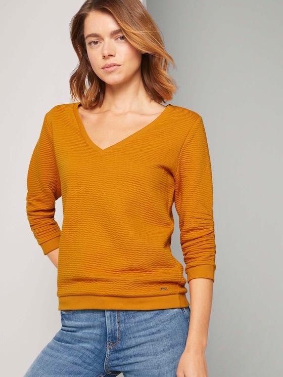 Getextureerde sweatshirt - Vrouwen - orange yellow - 5 - TOM TAILOR Denim