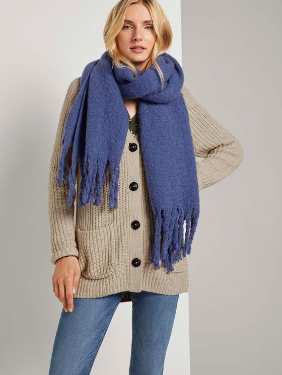 Grove sjaal met franjes - Vrouwen - deep ultramarine blue - 5 - TOM TAILOR