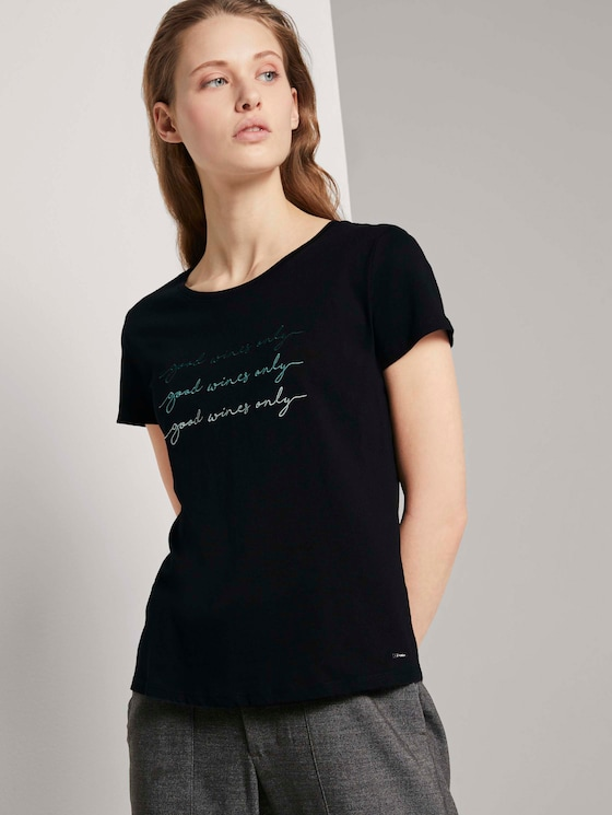 T-Shirt mit Stickerei - Frauen - Deep Black - 5 - TOM TAILOR Denim