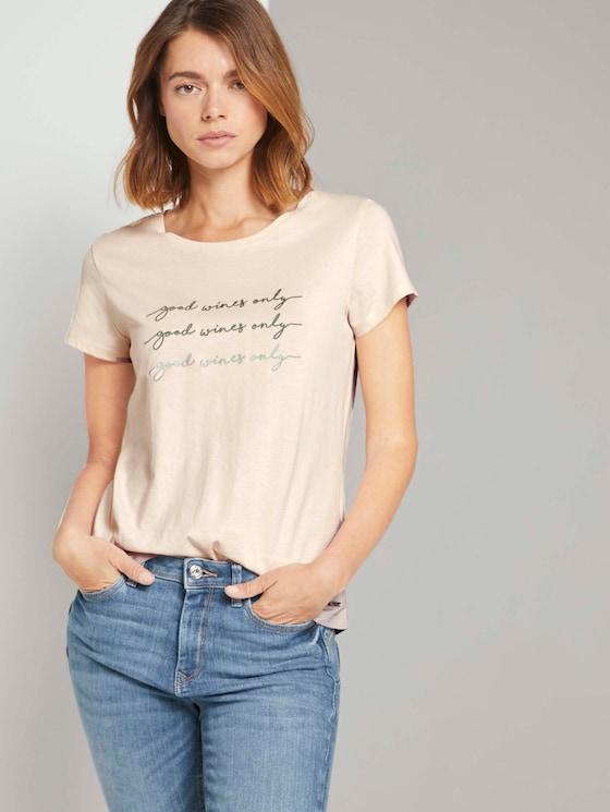 T-Shirt mit Stickerei - Frauen - soft beige - 5 - TOM TAILOR Denim