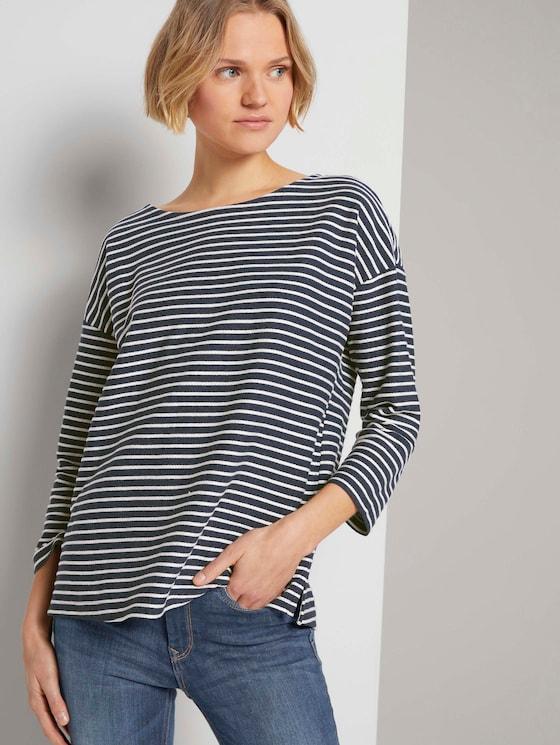 Gestreiftes Shirt mit Schleifendetail - Frauen - blue melange white stripe - 5 - TOM TAILOR Denim