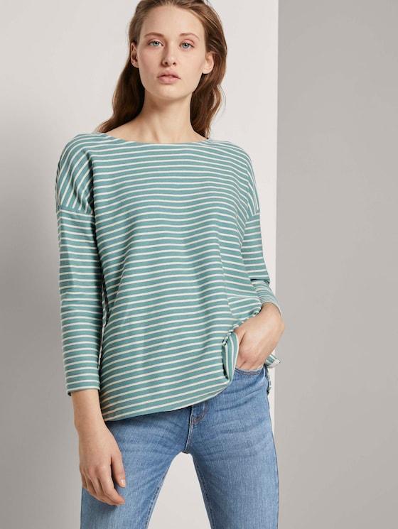Gestreiftes Shirt mit Schleifendetail - Frauen - mint structure stripe - 5 - TOM TAILOR Denim