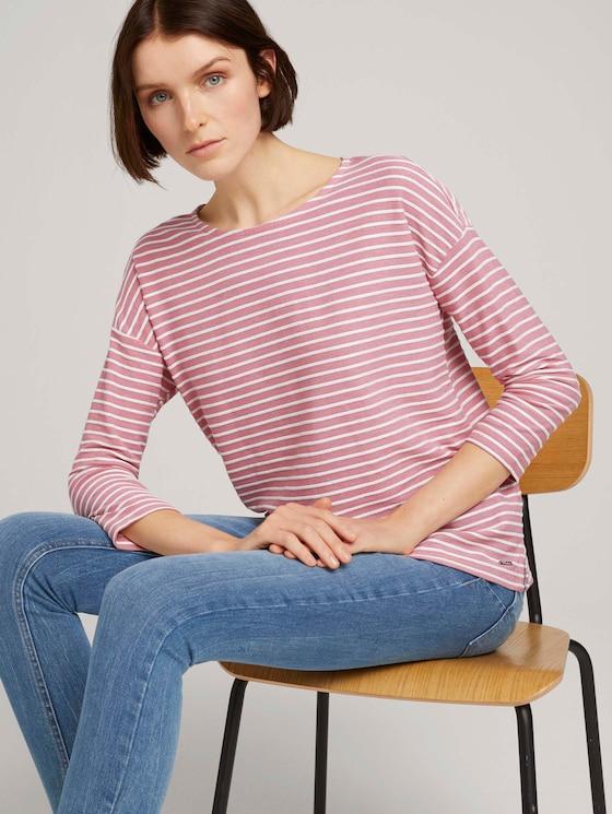 Gestreiftes Shirt mit Schleifendetail - Frauen - white rose mealnge stripe - 5 - TOM TAILOR Denim