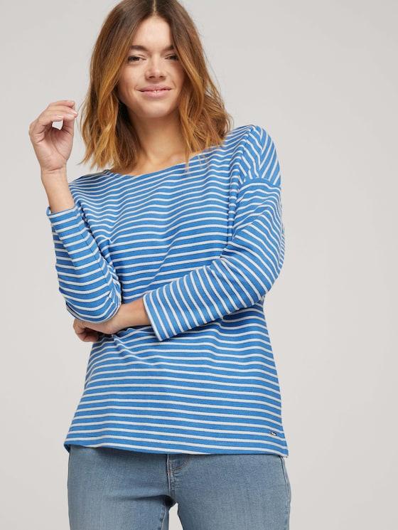 Gestreept shirt met strik detail - Vrouwen - mid blue melange white stripe - 5 - TOM TAILOR Denim
