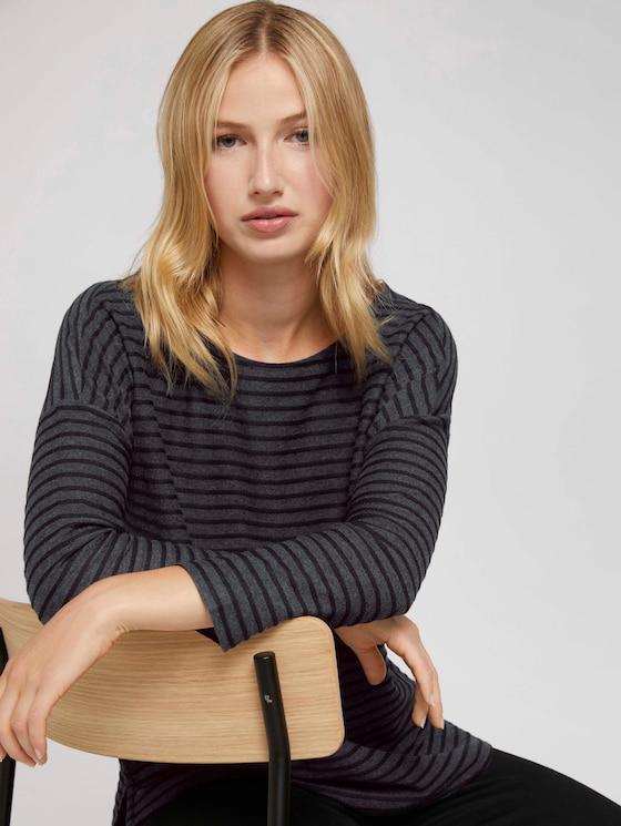Gestreiftes Shirt mit Schleifendetail - Frauen - black structure stripe - 5 - TOM TAILOR Denim