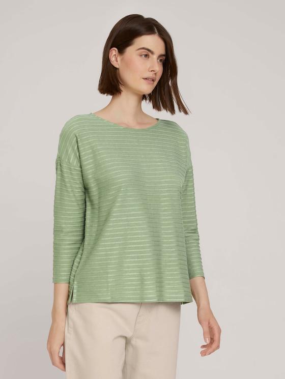 Gestreept shirt met strik detail - Vrouwen - green structure stripe - 5 - TOM TAILOR Denim